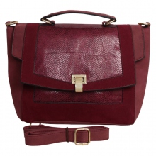 Sac polochon style cartable effet reptile rouge