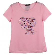 Top rose motif chiot en strass multicolore pour fille
