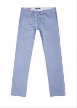 Jeans gris blueté coupe regular fermé zip et bouton
