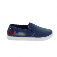 Baskets slip-on en jeans broderie fantaisie blue