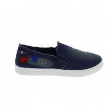 Baskets slip-on en jeans broderie fantaisie dark blue