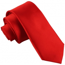 Cravate unie rouge en polyester largeur : 6 cm