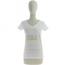 "T-shirt en col V imprimé ""MADE IN POLAROID"" blanc"