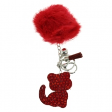 Assortiment porte clés pompon chat en strass