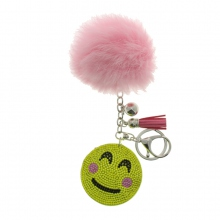 Assortiment porte clés pompon smiley en strass