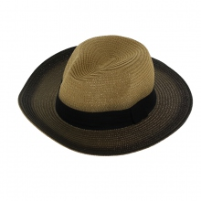 Chapeau panama marron degradé avec large galon