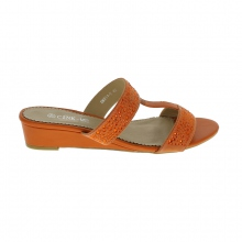 Sandale à double bride avec strass grande taille orange