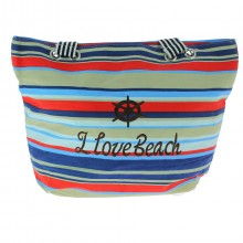 "Sac de plage ""I love beach"" avec rayures multicolores"