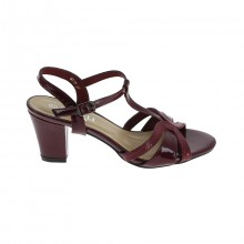 Escarpin ouvert à talon 6cm et bride brillante bordeaux