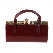 Sac bordeaux style docteur fermoir strass scintillant