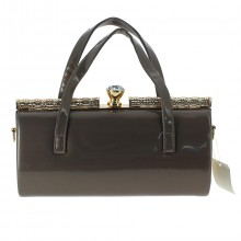 Sac taupe style docteur fermoir strass scintillant