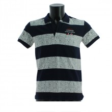 Polo pour homme avec large rayures blanc/marine