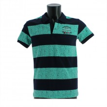 Polo pour homme avec large rayures turquoise/marine