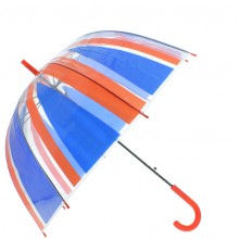 Parapluie cloche transparent bicolore rouge et bleu