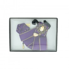 Coffret violet cravate broche nœud avec épingle de col