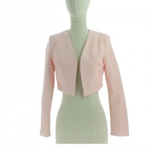 Gilet coupe courte style boléro manches longues rose