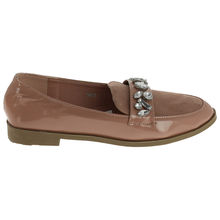 Mocassin slipper aspect verni rose avec pierres fantaisie