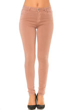 Pantalon coupe slim rose fermeture zip boutonnée