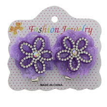 Assortiment barrette cheveux en fleur à strass brillant