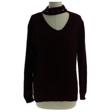 Pull col chocker orné perles manches longues bordeaux