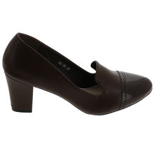 Escarpin talon carré style slipper bout arrondi marron