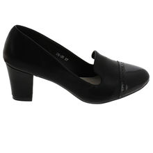 Escarpin talon carré style slipper bout arrondi noir