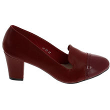 Escarpin talon carré style slipper bout arrondi rouge