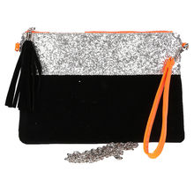 Pochette plate orange à paillettes avec dragonne