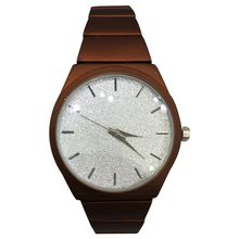 Montre bijou marron cadran pailletté et index en bâton