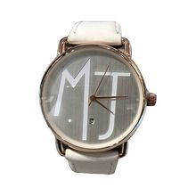 Montre inscription MJ cadran rose et bracelet cuir blanc