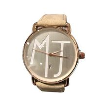 Montre inscription MJ cadran rose et bracelet cuir beige
