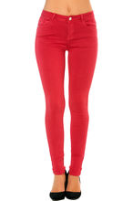 Pantalon coupe slim rouge à zip rehaussé d'un bouton