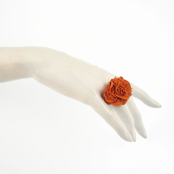 TZURI GUETA - Bague rose des sable orange
