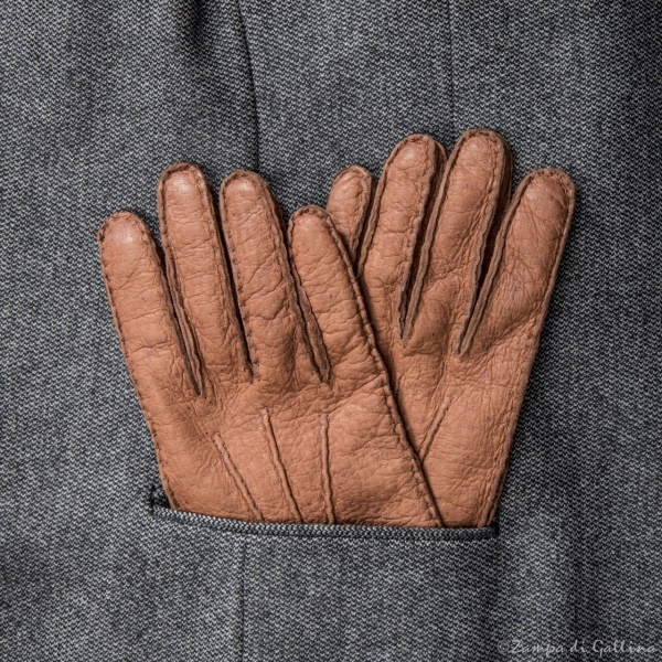 Gold Genuine peccary gloves cashmere lined