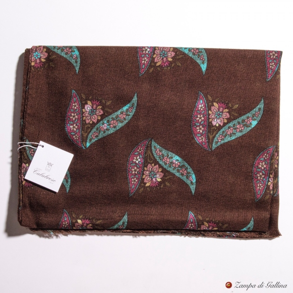 Brow with Flower Patterns Calabrese 1924 Merino Wool Scarf