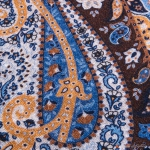 Brown with Paisley Patterns Calabrese 1924 Merino Wool Scarf