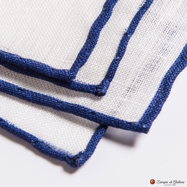 White linen with blue edge  hand-tipped Pocket square Francesco Marino
