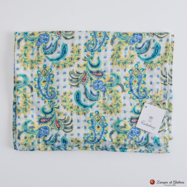 Double-Face White Calabrese Linen Scarf with Yellow Patterns