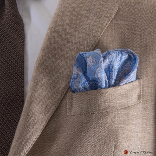 Blue with paisley patterns hand-tipped pocket square 100% linen
