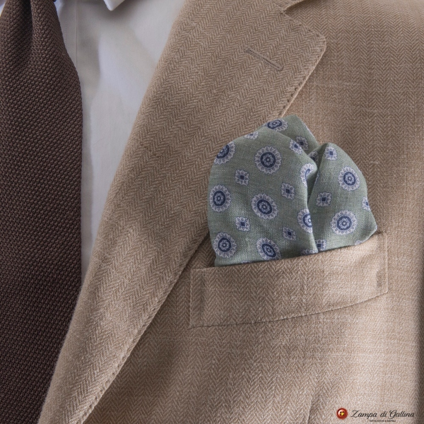 Green with flower patterns hand-tipped pocket square 100% linen