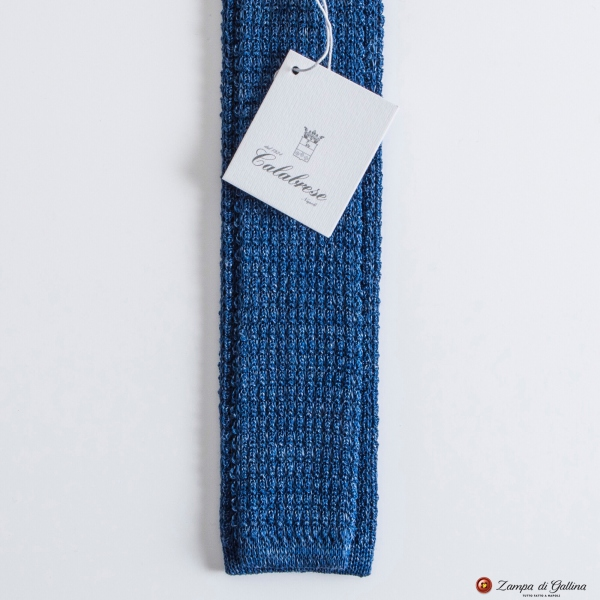 Denim blue Calabrese 1924 Linen and silk Knitted necktie