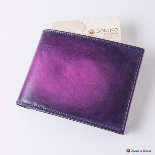 Bonino X Emilie Patine Eggplant Patina leather billfold wallet with coin pocket