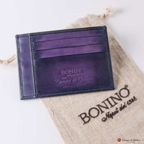 Bonino X Emilie Patine Eggplant Patina leather Card Holder