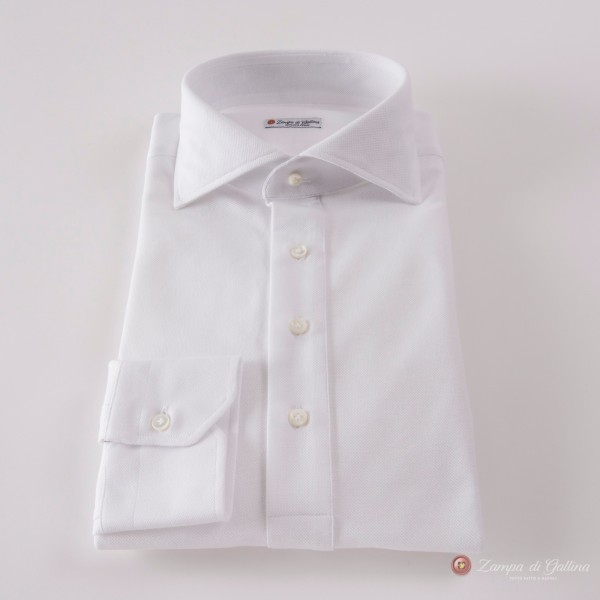 Slim fit Coton Pique Long Sleeve White Polo Shirt