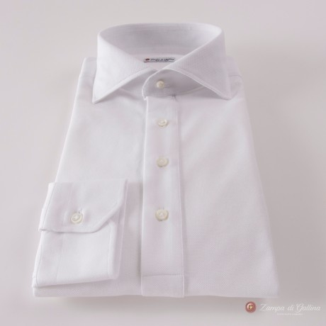 Mercerized Coton Pique Long Sleeve White Polo Shirt