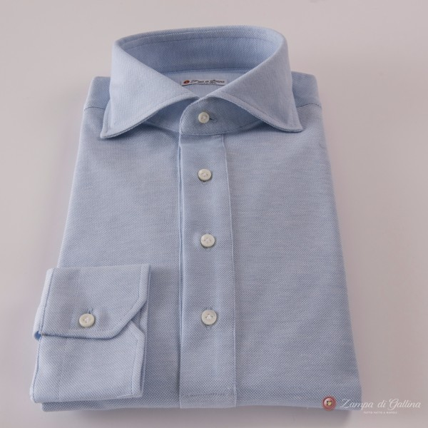 Polo camicia blu chiaro in cottone stretch