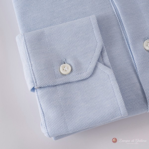 Polo camicia blu chiaro in cottone stretch slim fit