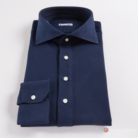 Polo camicia blu scuro in cottone stretch slim fit