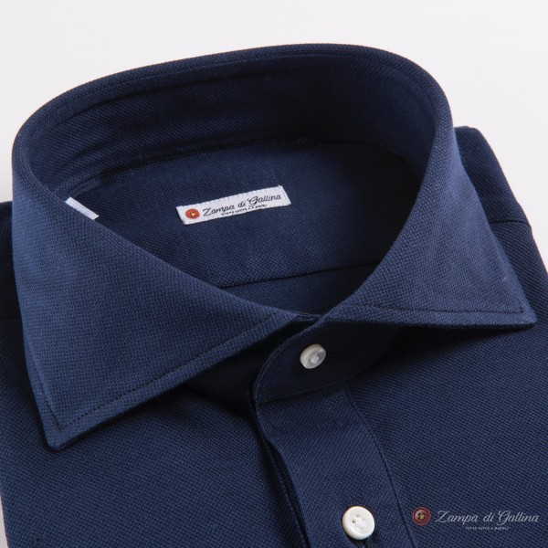 Long Sleeve Blue Polo Shirt in Mercerized Cotton