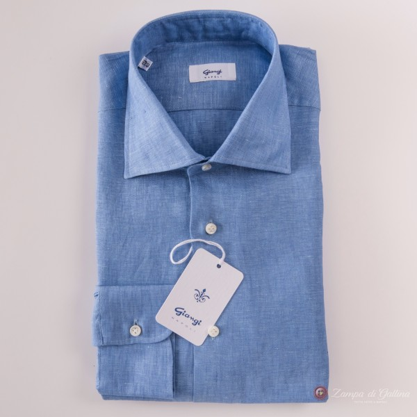Handmade Blue Denim Giangi Napoli Linen Shirt